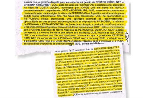 DOCUMENTOS. En dos declaraciones aparecen mencionados los vínculos de Cristóbal López con Cristina. Y las reuniones de De Vido con directivos de Petrobras por la venta de Transener.