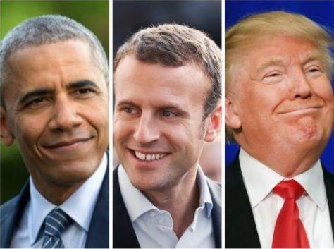 De izquierda a derecha: Barack Obama, Emmanuel Macron, Donald Trump
