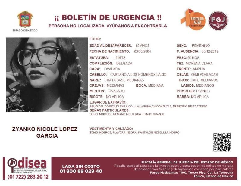 Piden apoyo para localizar a Zyanko Nicole López estudiante del IPN desaparecida en Ecatepec 1