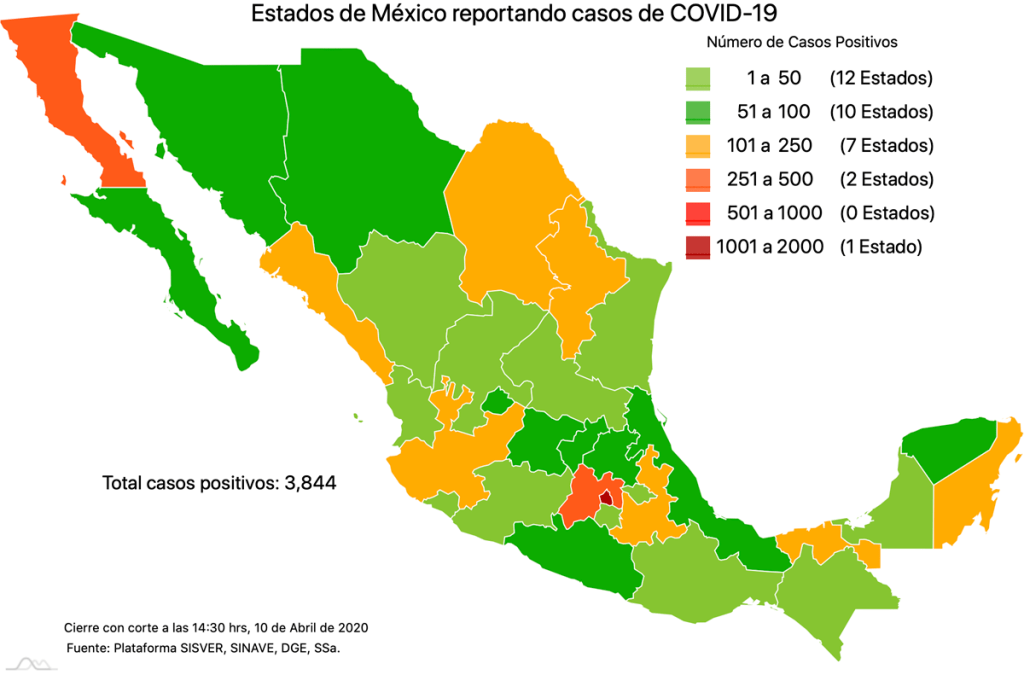 Coronavirus en México, mapa por estado al 10 de abril 2020