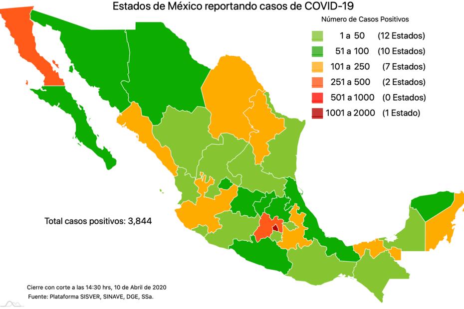 #COVID19 México, positivos, negativos, sospechosos y defunciones por estado al 10 de abril 2020 1
