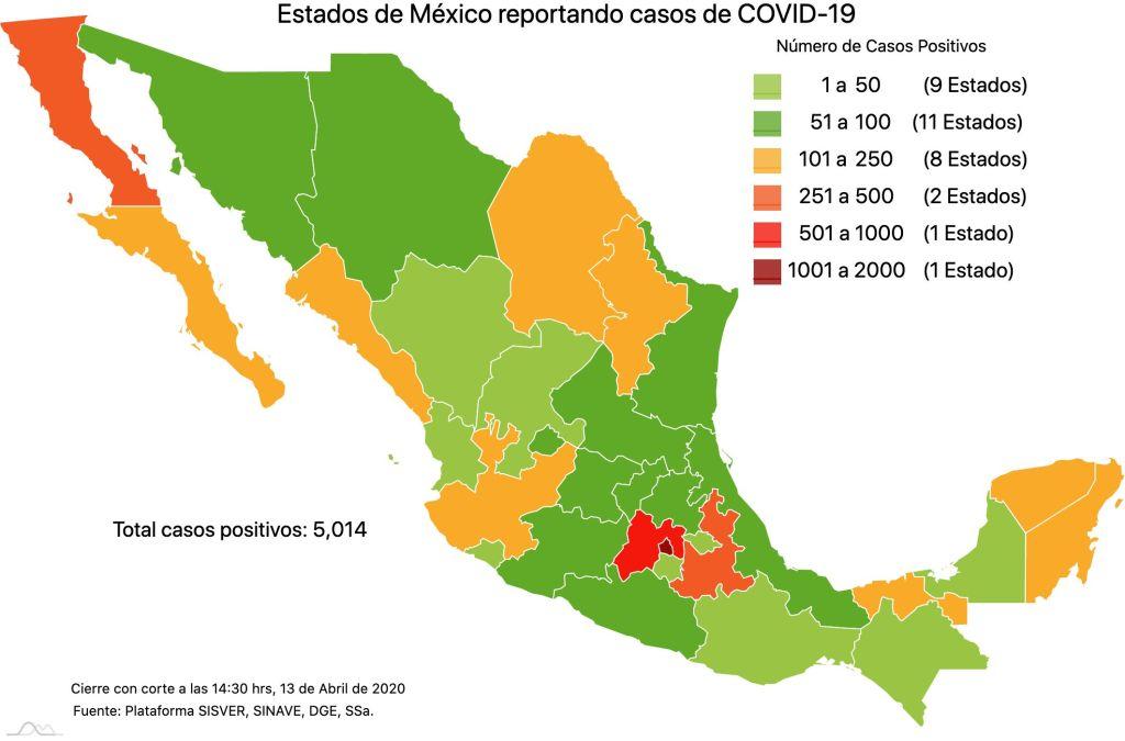 #COVID19 en México, casos positivos, negativos, sospechosos y defunciones por estado al 13 de abril 2020 2