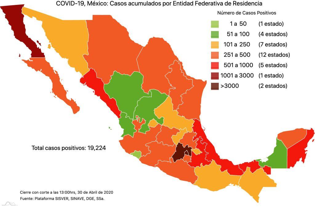 #COVID19 en México, casos activos, positivos, negativos, sospechosos, defunciones y tasa de incidencia por estado al 30 de abril 2020 2
