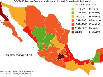 #COVID19 en México, casos activos, positivos, negativos, sospechosos, defunciones y tasa de incidencia por estado al 30 de abril 2020 1
