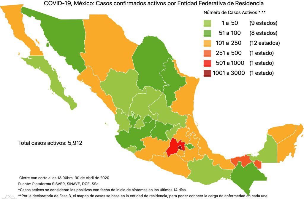 #COVID19 en México, casos activos, positivos, negativos, sospechosos, defunciones y tasa de incidencia por estado al 30 de abril 2020 3