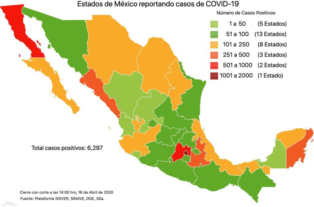 #COVID19 en México, casos positivos, negativos, sospechosos y defunciones por estado al 16 de abril 2020 2