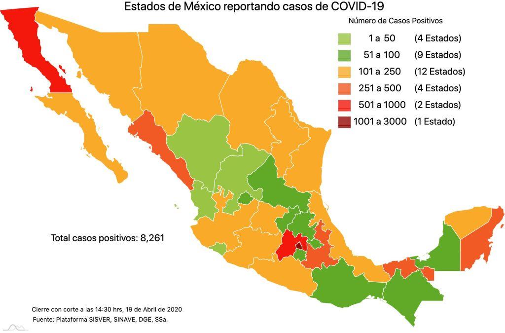 #COVID19 en México, casos positivos, negativos, sospechosos y defunciones por estado al 19 de abril 2020 2
