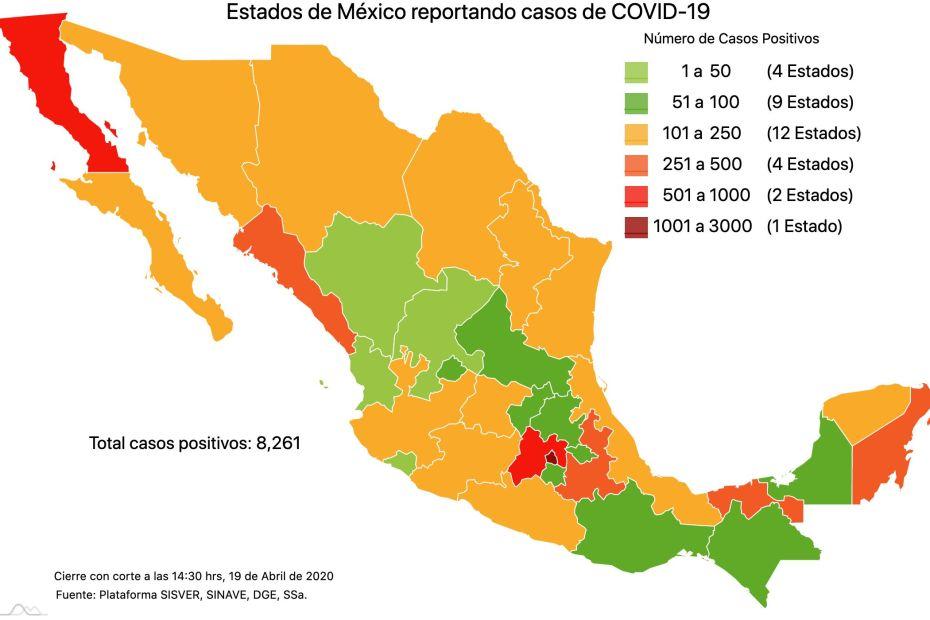 #COVID19 en México, casos positivos, negativos, sospechosos y defunciones por estado al 19 de abril 2020 1