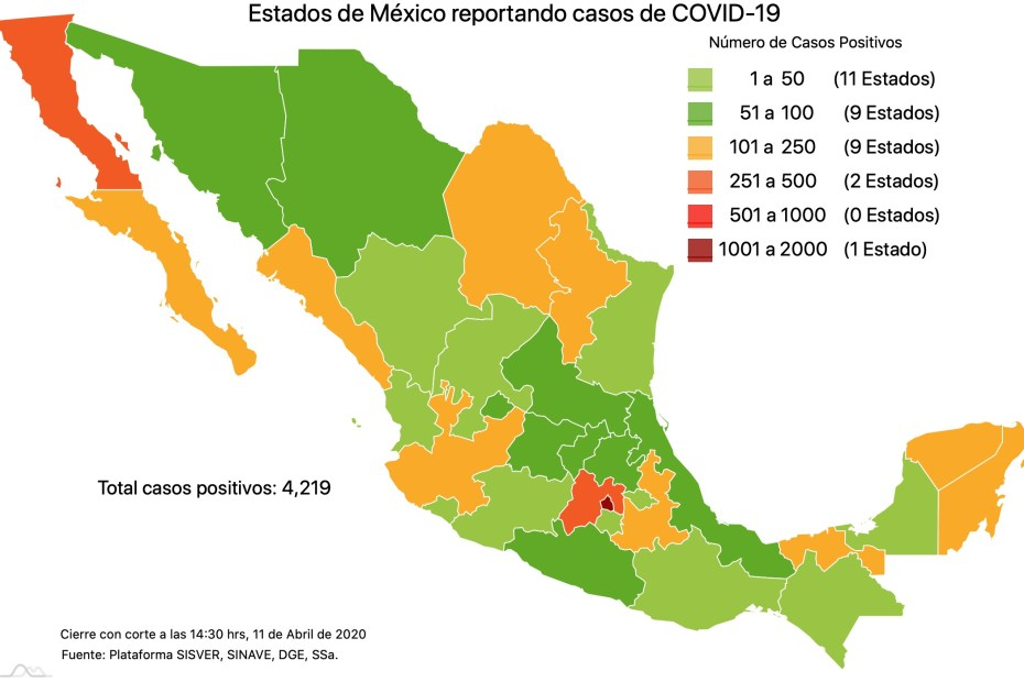 #COVID19 México, positivos, negativos, sospechosos y defunciones por estado al 11 de abril 2020 1