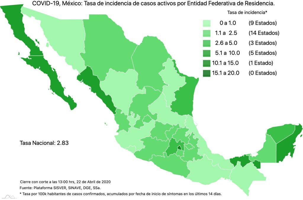 #COVID19 en México, casos activos, positivos, negativos, sospechosos, defunciones y tasa de incidencia por estado al 22 de abril 2020 4