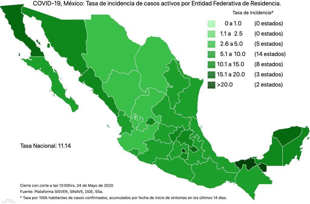 #COVID19 en México 24 de mayo 2020, casos defunciones, activos y tasa de incidencia nacional y por estado 4