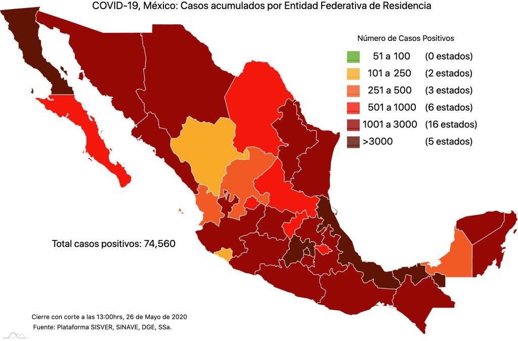 #COVID19 en México 26 de mayo 2020, casos defunciones, activos y tasa de incidencia nacional y por estado 1