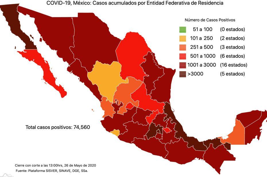 #COVID19 en México 26 de mayo 2020, casos defunciones, activos y tasa de incidencia nacional y por estado 10