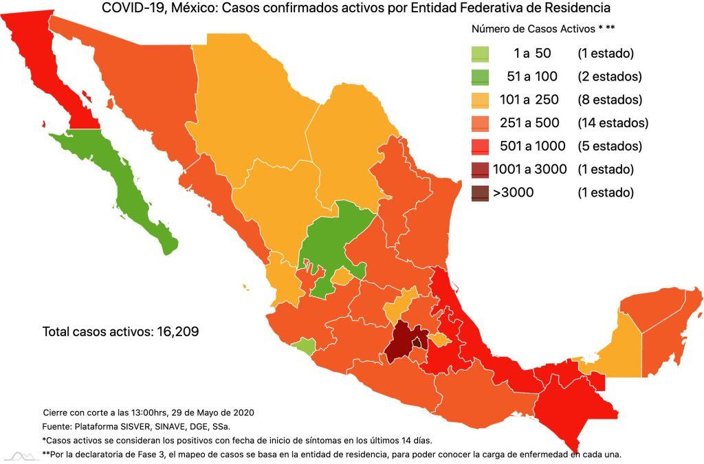 #COVID19 en México 29 de mayo 2020, casos defunciones, activos y tasa de incidencia nacional y por estado 2