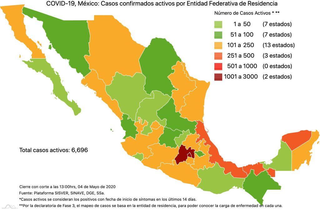#COVID19 en México 4 de mayo 2020, casos defunciones y tasa de incidencia nacional y por estado 3