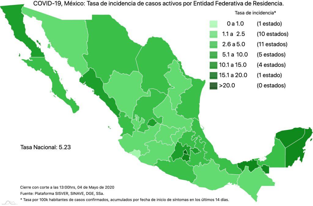 #COVID19 en México 4 de mayo 2020, casos defunciones y tasa de incidencia nacional y por estado 4