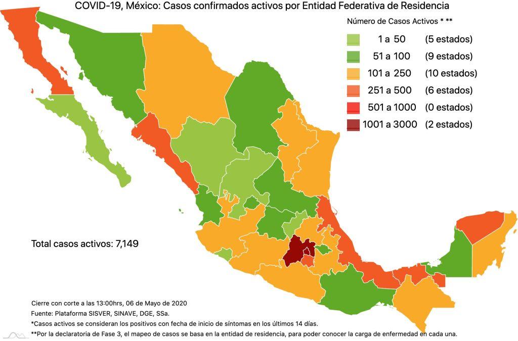 #COVID19 en México 6 de mayo 2020, casos defunciones y tasa de incidencia nacional y por estado 3