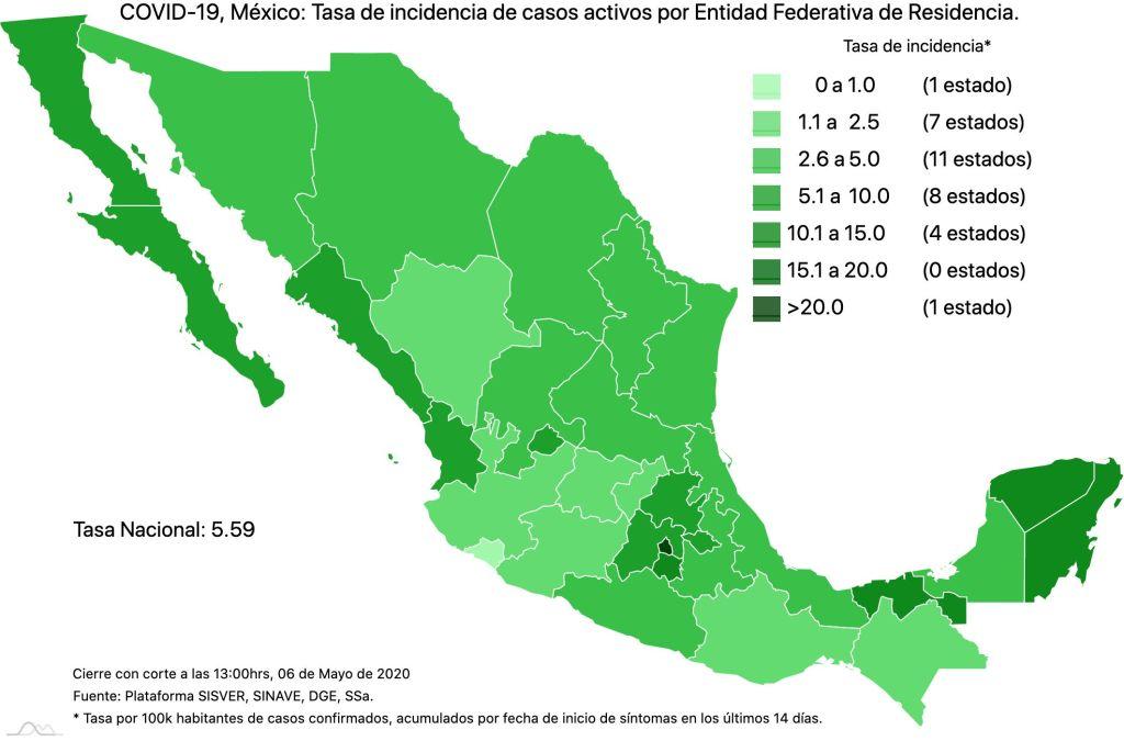 #COVID19 en México 6 de mayo 2020, casos defunciones y tasa de incidencia nacional y por estado 4