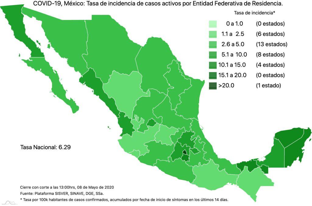 #COVID19 en México 8 de mayo 2020, casos defunciones y tasa de incidencia nacional y por estado 4