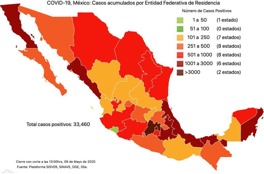 #COVID19 en México 9 de mayo 2020, casos defunciones y tasa de incidencia nacional y por estado 2