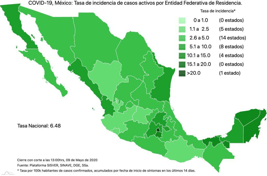 #COVID19 en México 9 de mayo 2020, casos defunciones y tasa de incidencia nacional y por estado 4