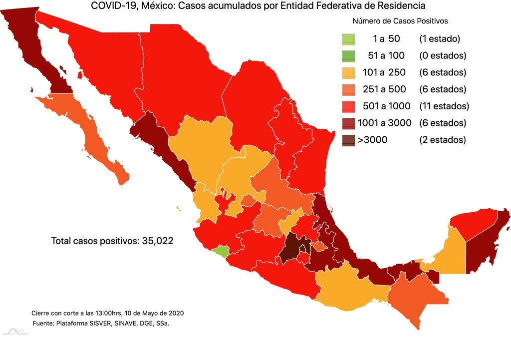 #COVID19 en México 10 de mayo 2020, casos defunciones y tasa de incidencia nacional y por estado 2