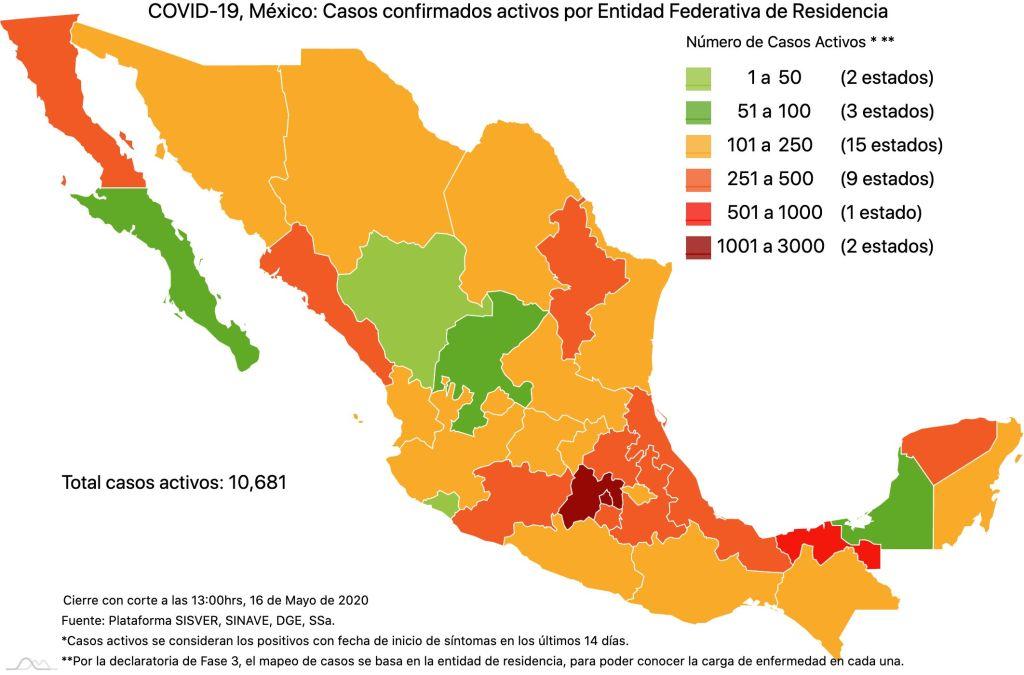 #COVID19 en México 16 de mayo 2020, casos defunciones y tasa de incidencia nacional y por estado 5