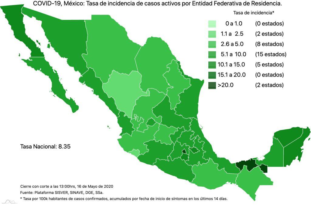 #COVID19 en México 16 de mayo 2020, casos defunciones y tasa de incidencia nacional y por estado 6