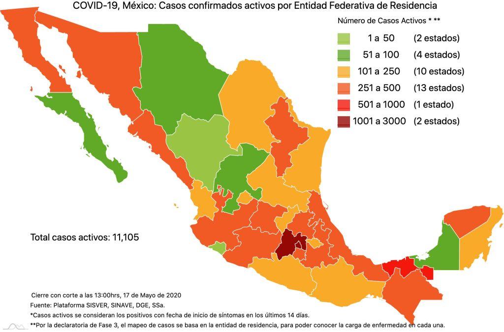 #COVID19 en México 17 de mayo 2020, casos defunciones y tasa de incidencia nacional y por estado 3