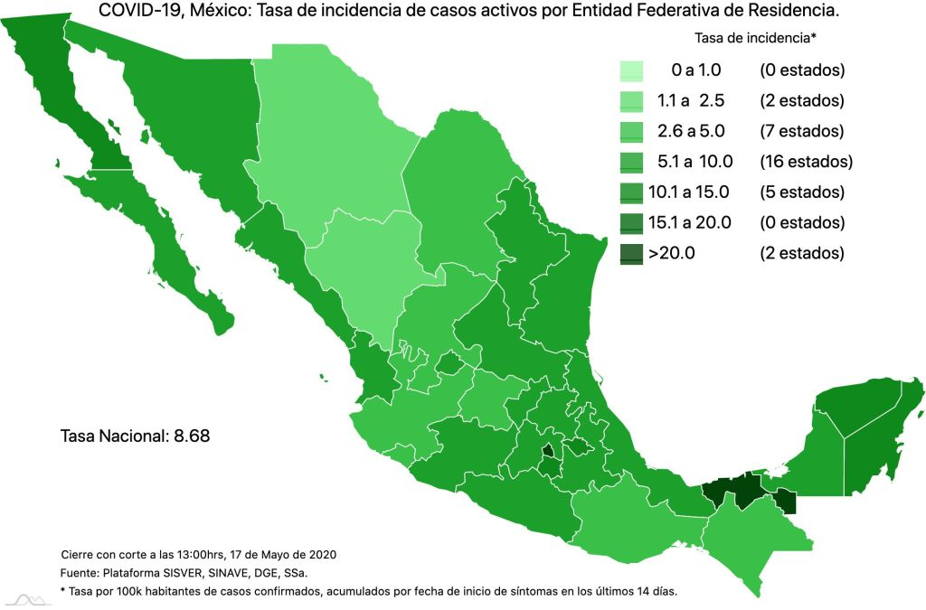 #COVID19 en México 17 de mayo 2020, casos defunciones y tasa de incidencia nacional y por estado 4