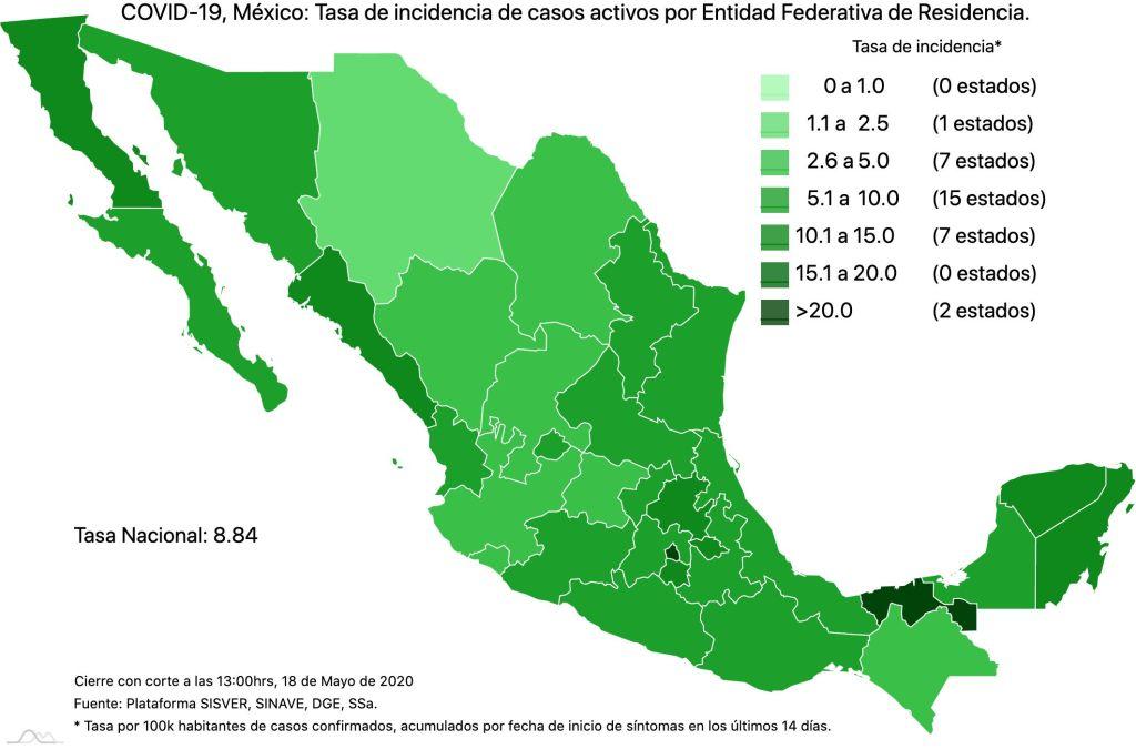 #COVID19 en México 18 de mayo 2020, casos defunciones, activos y tasa de incidencia nacional y por estado 4