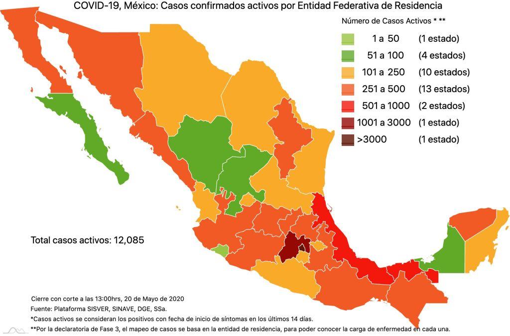 #COVID19 en México 20 de mayo 2020, casos defunciones, activos y tasa de incidencia nacional y por estado 3