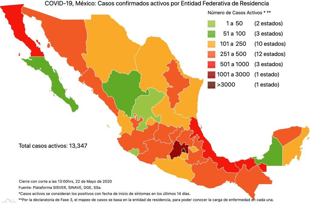 #COVID19 en México 22 de mayo 2020, casos defunciones, activos y tasa de incidencia nacional y por estado 3