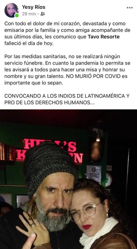 El rock mexicano está de luto, confirman la muerte de Tavo Resorte 2