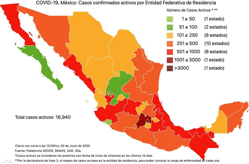 #COVID19 en México 2 de junio 2020, casos defunciones, activos y tasa de incidencia nacional y por estado 2