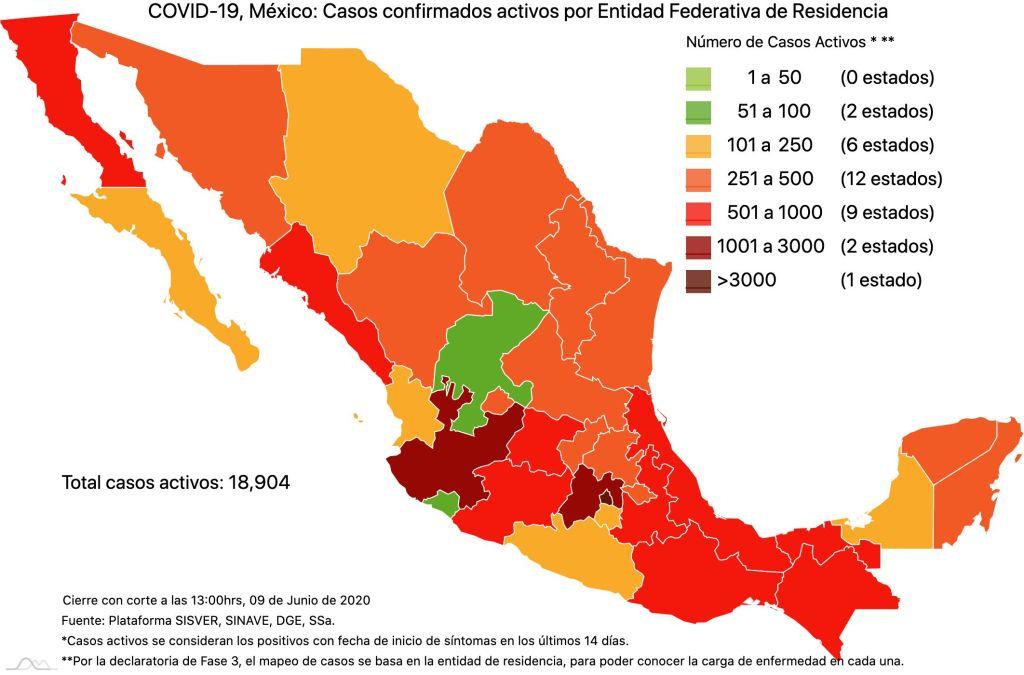 #COVID19 en México 9 de junio 2020, casos defunciones, activos y tasa de incidencia nacional y por estado 2