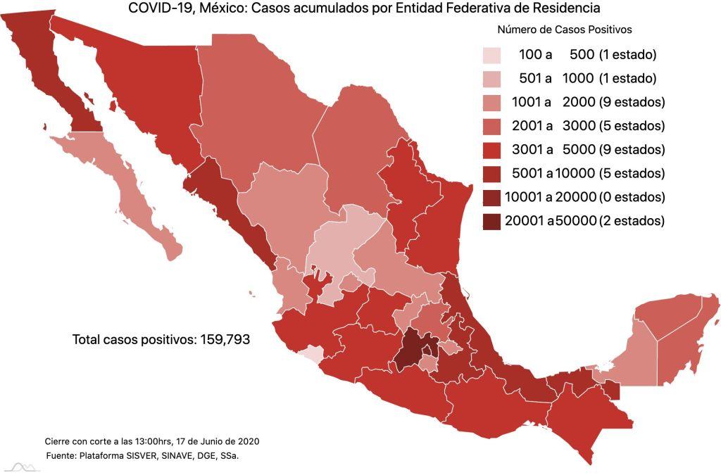 COVID19 en México 17 de junio 2020, casos defunciones, activos y tasa de incidencia nacional y por estado 1