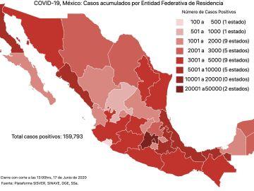 COVID19 en México 17 de junio 2020, casos defunciones, activos y tasa de incidencia nacional y por estado 11