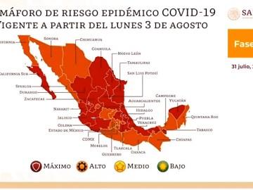 Semáforo epidemiológico  del 3 al 16 de agosto en México 6