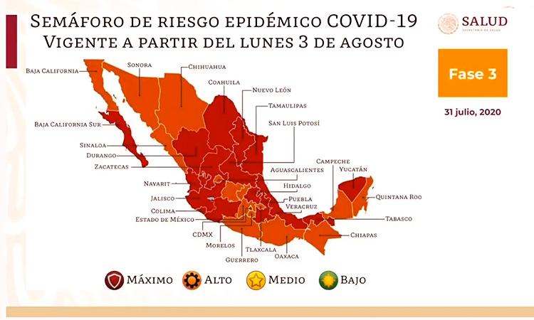 Semáforo epidemiológico  del 3 al 16 de agosto en México