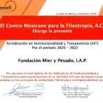 CEMEFI reconoce la Institucionalidad y Transparencia de la Fundación Mier y Pesado 9