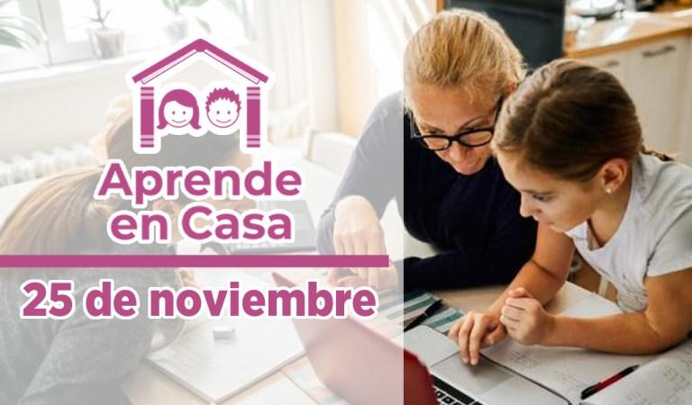Aprende en Casa – Clases del 25 de noviembre