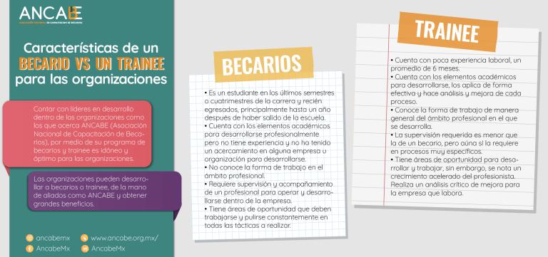 Características de un becario vs un trainee para las organizaciones por especialistas de ANCABE 1