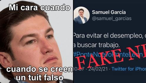"""Así desmiente Samuel García tuit """"falso"""" que se volvió viral"""
