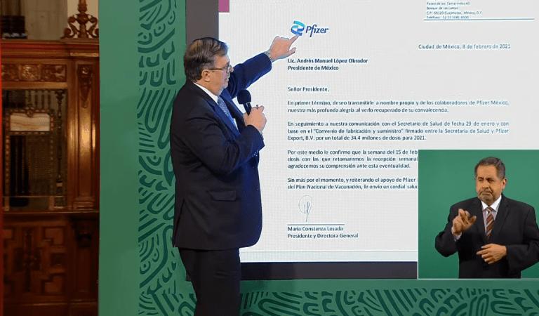 La semana del 15 de febrero, Pfizer reanudará el suministro de vacunas a México