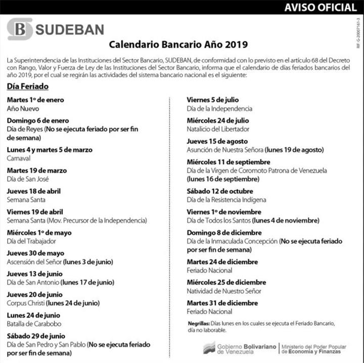 calendario de feriados bacarios