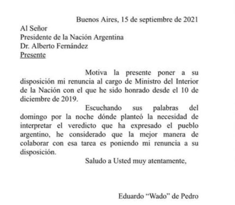 La renuncia de Wado de Pedro