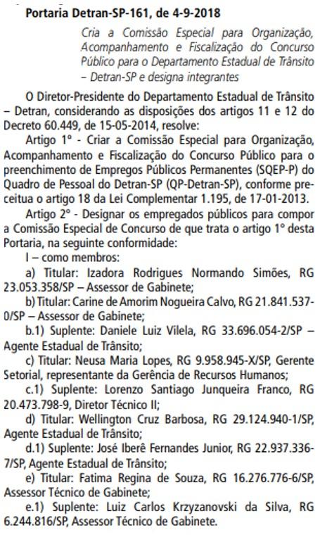 Concurso Público Detran SP 2018