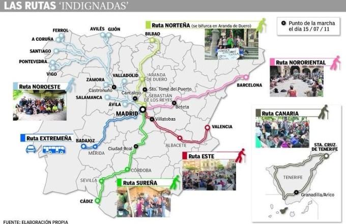 Mapa de la marcha de los Indignados