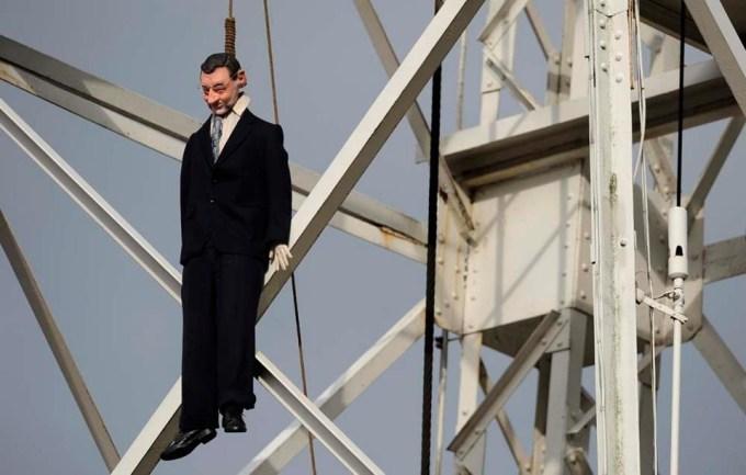 Mariano Rajoy ahorcado: Protesta de los mineros